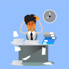 Businessman hard work on office illustration