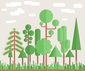 Summer Tree Forest Flat Illustration