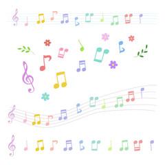 手描き カラフル音符セット / vector eps