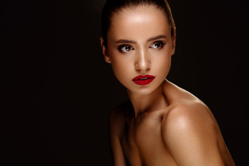 Fashion Beauty Portrait. Woman With Beautiful Makeup, Red Lips