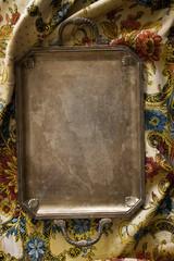 retro tray on oriental tablecloth