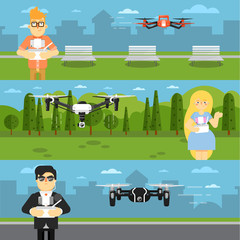 Drone aircraft flyers with people operating flying robots in park vector illustration. Remotely controlled multicopter. Multicopter piloting with tablet or smartphone. Unmanned aerial vehicle.