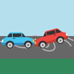 Car crash. Two cars hit head-on. Flat design.