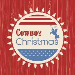 American cowboy christmas greeting card on wood board
