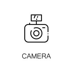 Camera flat icon or logo for web design.