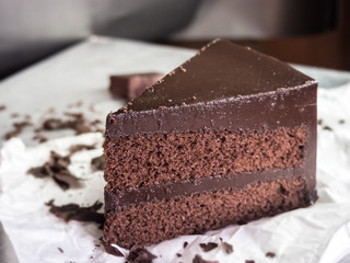 chocolate fudge cake,selective focus