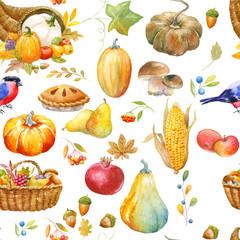 Autumn thanksgiving watercolor pattern