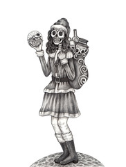 Art skull day of the dead. Hand pencil drawing on paper.