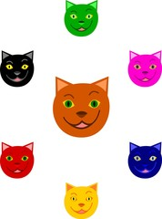 Cartoon cat faces brown, green, black, red, yellow, blue and pink