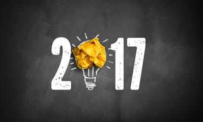 Jahreszahl 2017 mit Idee Symbol