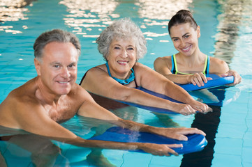 Active seniors at water fitness