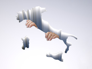 hole with a map of Italy with clinging hands