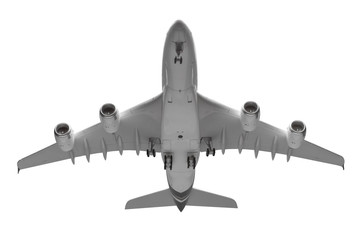 Bottom view airplane takeoff isolated on white background with c