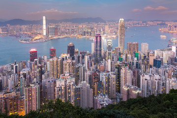 Hong Kong city downtown on Victory point at twilight