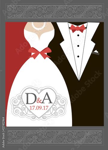 Bride And Groom Wedding Invitation. Wedding Invitation Card. Black ...