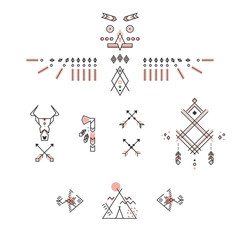 Set of american indian symbols. Stylized linear design. Vector totem, buffalo skull, tomahawk, wigwam, arrows and fishes