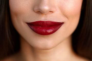 Closeup Beautiful Woman Lips With Red Lipstick. Beauty Makeup