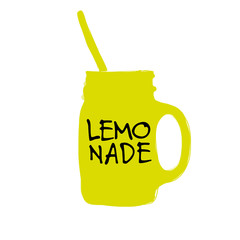 Cup with lemonade, sketch for your design