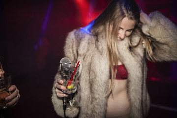 Young woman enjoying a night out