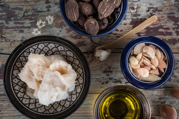 shea nuts anbutter and argan oil and seeds