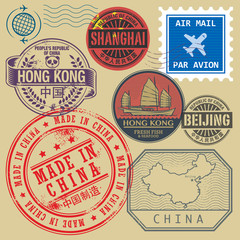 Travel stamps set with the text Chine, Shanghai, Beijing