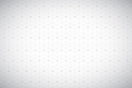 Geometric pattern with connected line and dots. Grey graphic background connectivity. Modern stylish polygonal backdrop for your design. Vector illustration.