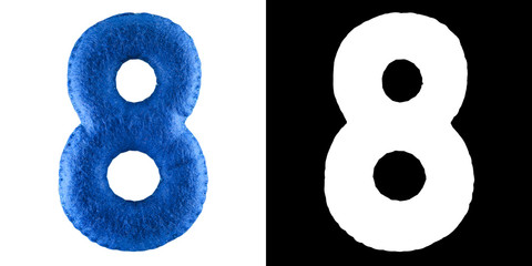 Number 8. Hand made number Eight from blue felt. Set of numbers from colorful felt isolated on white with alpha mask