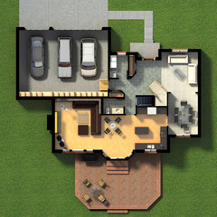 3D illustration of a furnished residential house, with the first-floor plan, showing the living room, dining room, foyer, terrace and garage