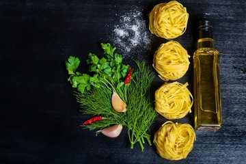 raw pasta spices and ingredients