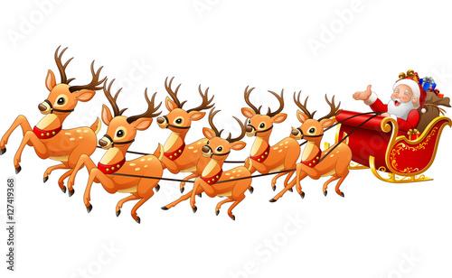 """Santa Claus rides reindeer sleigh on Christmas"" Stock ..."