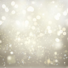chrismas silver abstract background with bright sparkles and falling snowflakes