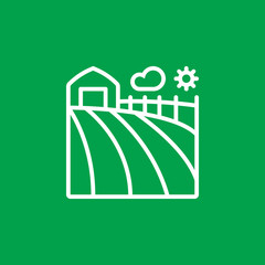 Farm field line icon, outline vector sign, linear pictogram isolated on green. logo illustration