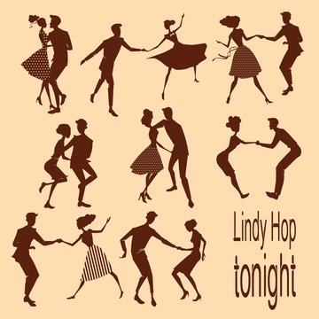set of illustrations silhouettes dancing lindy hop couples in retro styles