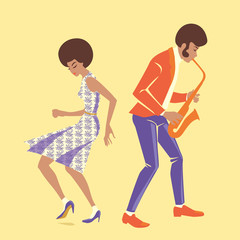 vector illustration of a musician and a dancer in retro style