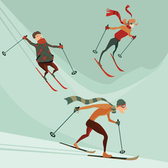 set of vector illustrations of people engaged in skiing