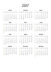 Calendário 2017 português