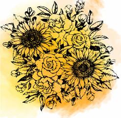 эскиз,букет цветов,на акварельном фоне