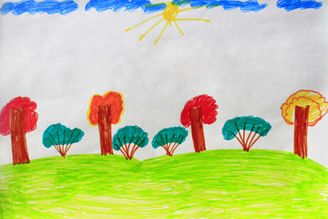 childish drawing with trees and bushes