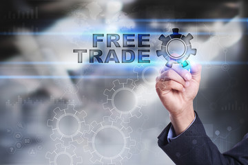 Businessman is drawing on virtual screen. free trade concept