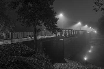 Printed roller blinds Theater Nachtaufnahme einer Brücke in Regensburg mit Nebel