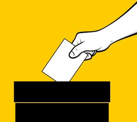 Hand dropping vote in ballot