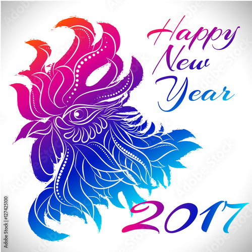 eaec38cf1 NewYear bird symbol of 2017 year,Head of Rooster - Chinese bird zodiac  animal sign, vector illustration.Blue Rooster oriental bird - Chinese zodiac  year ...