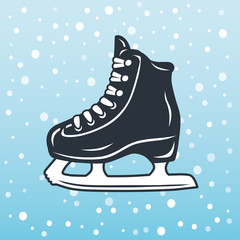 Ice skate icon on a winter background.
