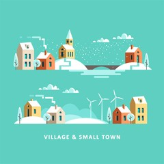Poster Green coral Village. Small town. Rural and urban winter landscape. Vector flat illustration.