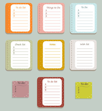 The sheets of the planner in a cute polka dots. Diary.To Do Lists with little hearts. Vector illustration.