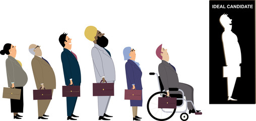 Line of diverse candidates for a job standing behind a cutout as a metaphor for a discrimination during an employment interview, EPS 8 vector illustration