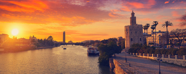 Seville sunset skyline torre del Oro in Sevilla Wall mural