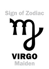 Astrology Alphabet: Sign of Zodiac VIRGO (The Maiden). Hieroglyphics character sign (single symbol).