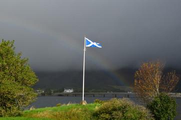 Scottish Flag With a Rainbow