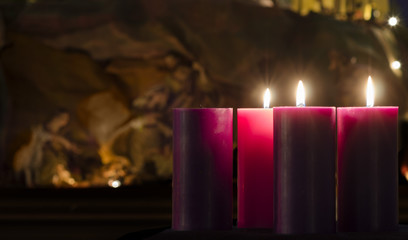Advent Candles and Creche Week 3